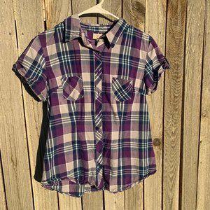 OP short sleeve button up plaid junior large